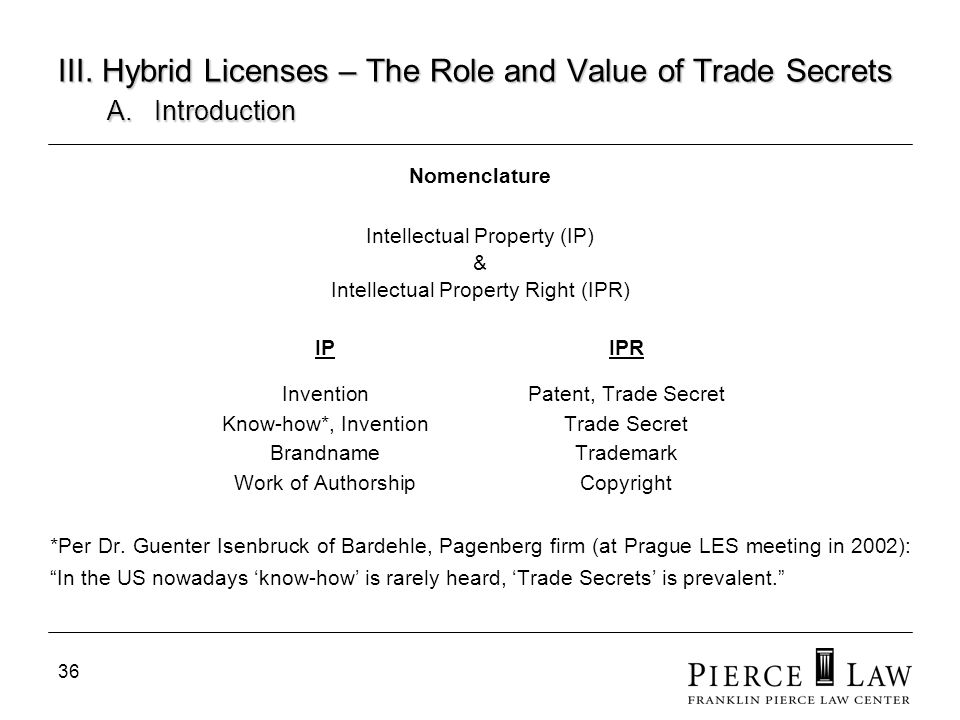 III. Hybrid Licenses – The Role and Value of Trade Secrets. A