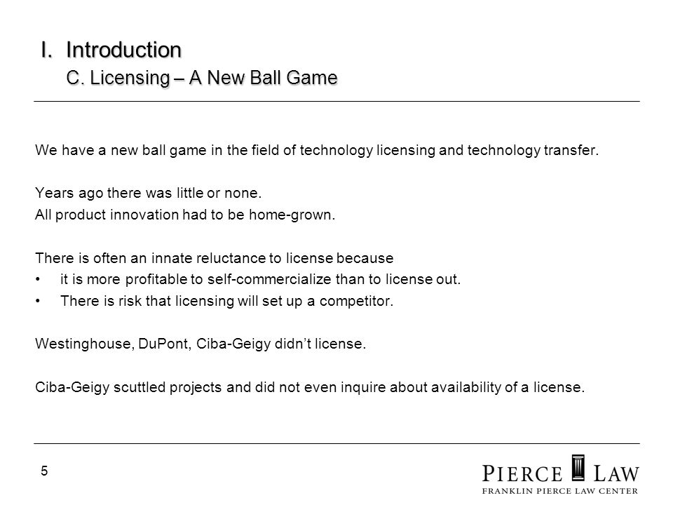 I. Introduction C. Licensing – A New Ball Game