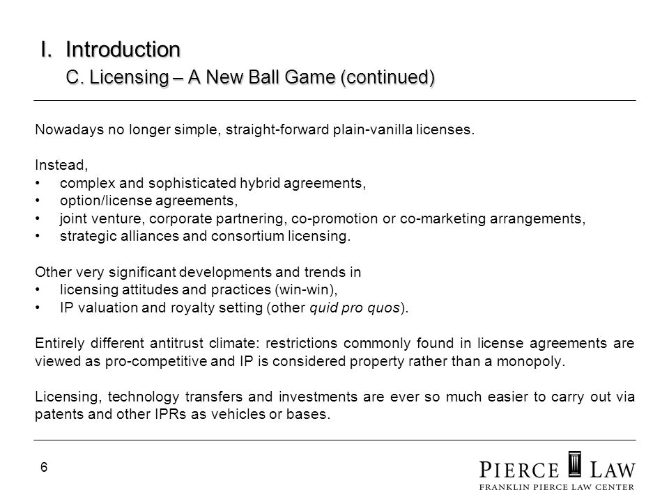 I. Introduction C. Licensing – A New Ball Game (continued)