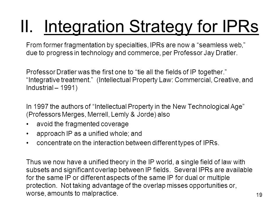 II. Integration Strategy for IPRs