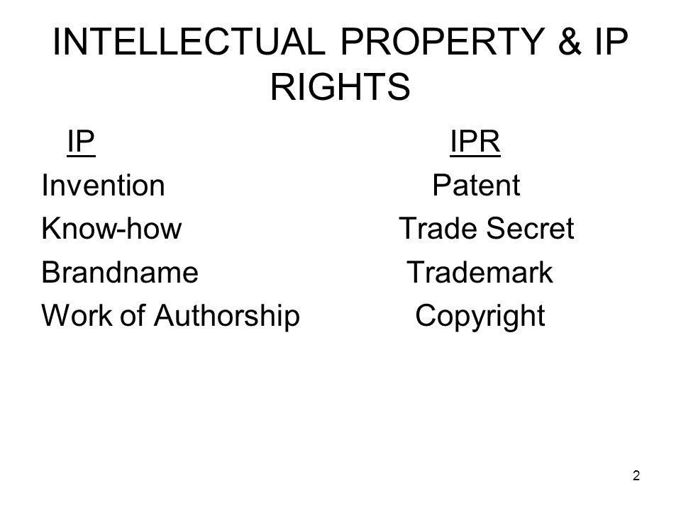 INTELLECTUAL PROPERTY & IP RIGHTS