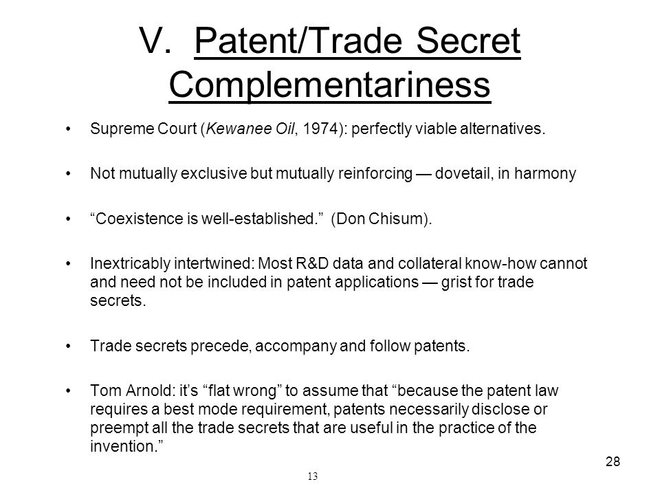 V. Patent/Trade Secret Complementariness