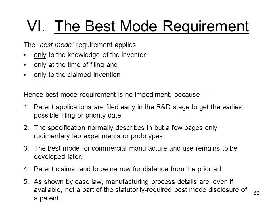 VI. The Best Mode Requirement