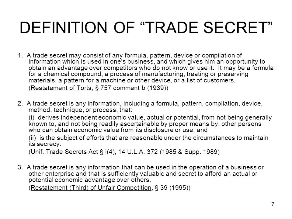 DEFINITION OF TRADE SECRET