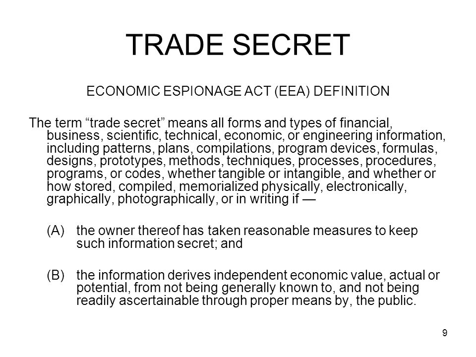 ECONOMIC ESPIONAGE ACT (EEA) DEFINITION
