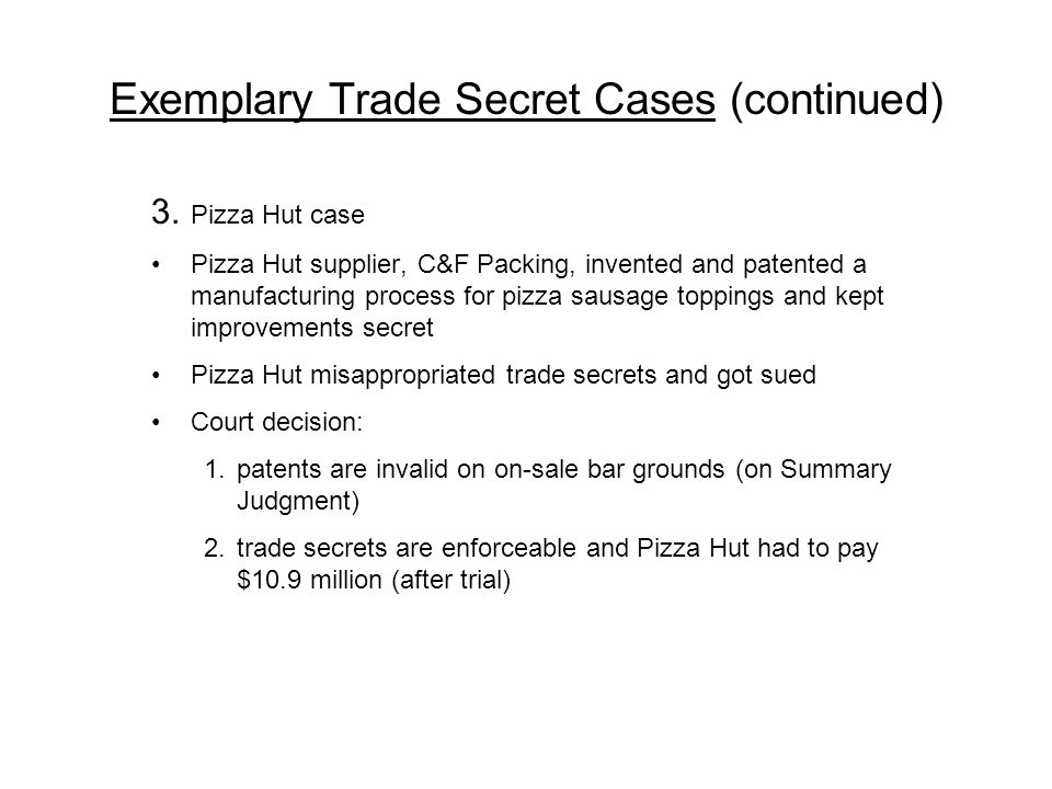 Exemplary Trade Secret Cases (continued)