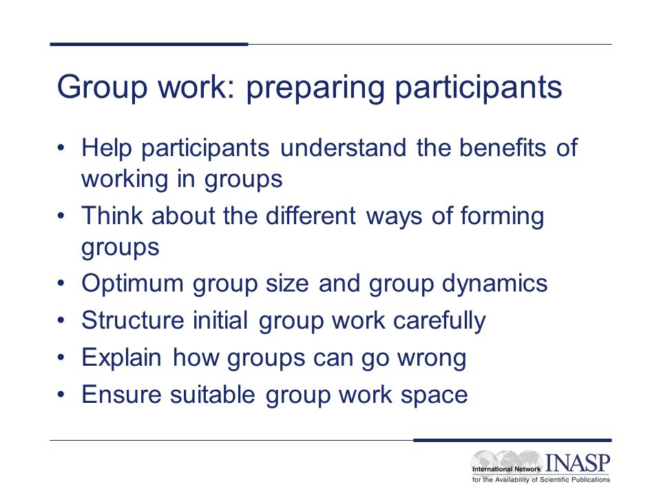 Group work: preparing participants