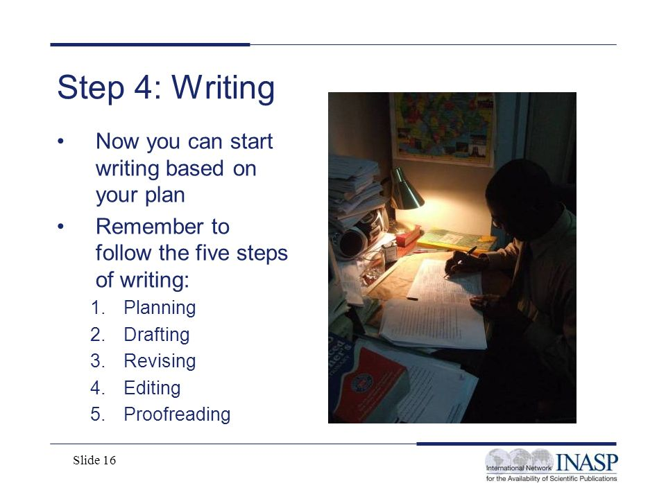 Step 4: Writing Now you can start writing based on your plan