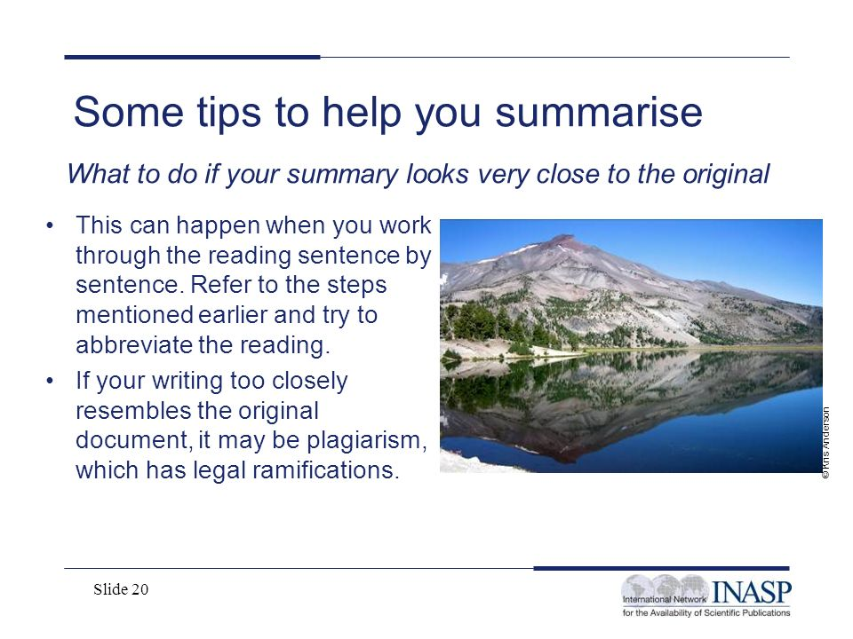 Some tips to help you summarise