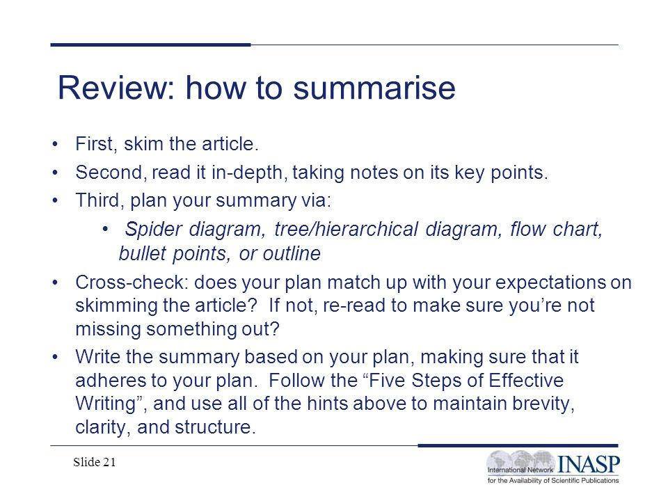 Review: how to summarise