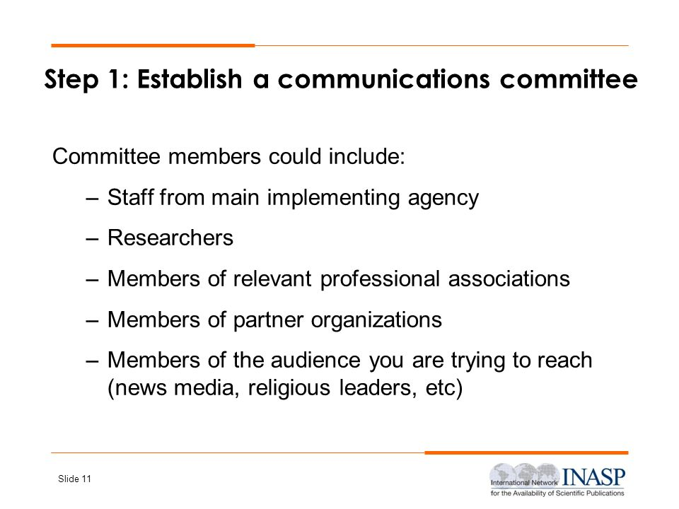 Step 1: Establish a communications committee