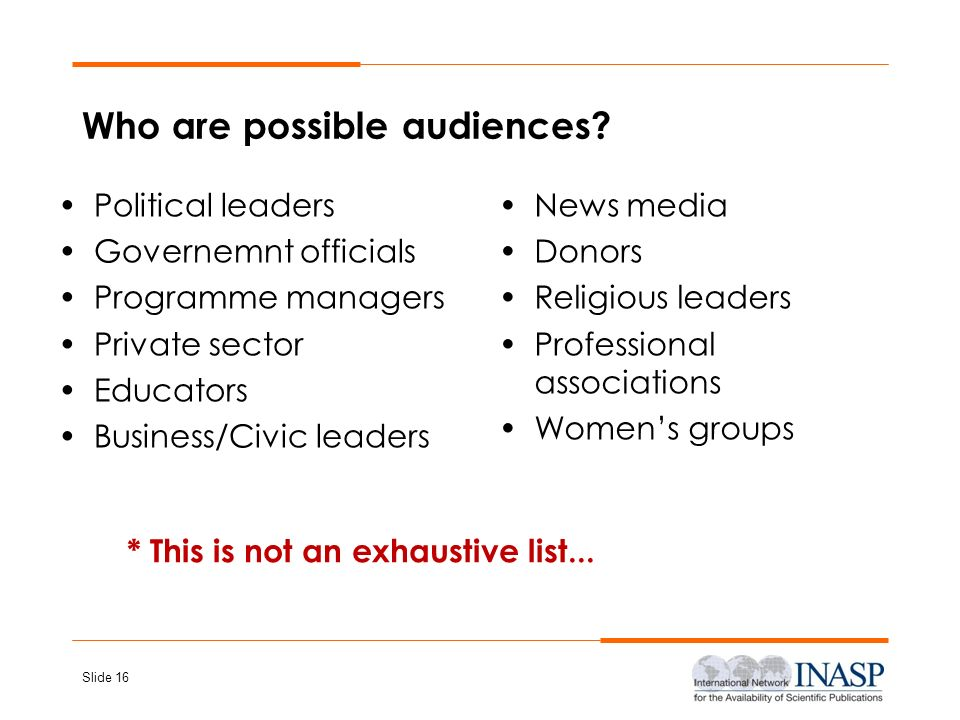 Who are possible audiences