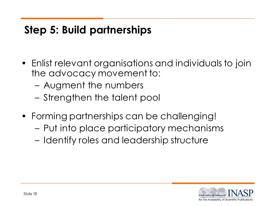 Step 5: Build partnerships