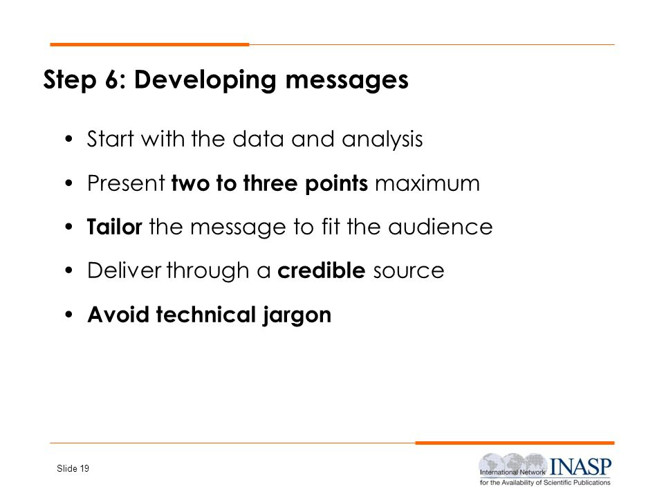 Step 6: Developing messages