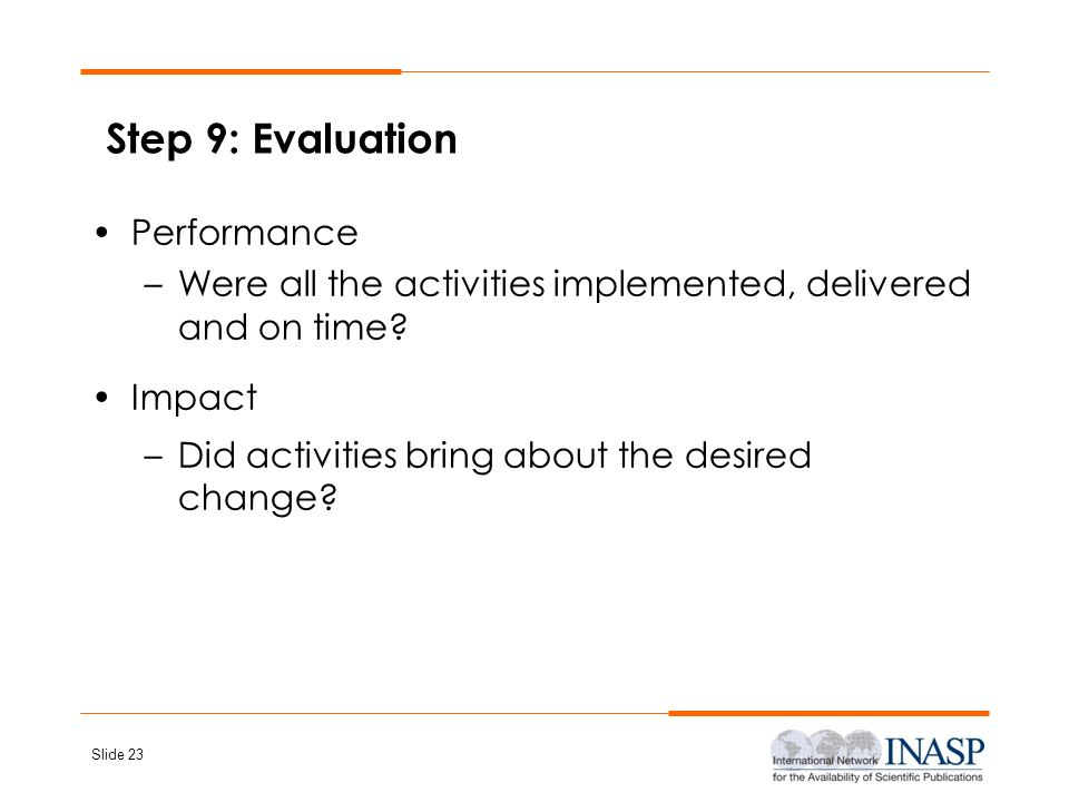 Step 9: Evaluation Performance