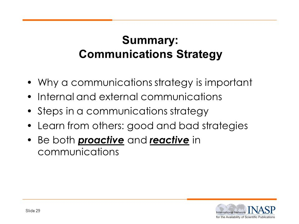 Summary: Communications Strategy