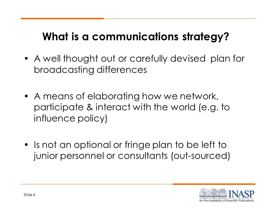 What is a communications strategy