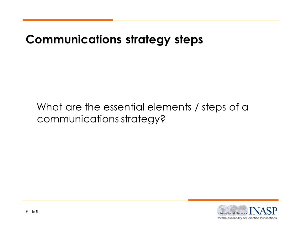 Communications strategy steps