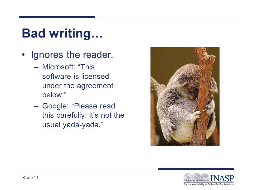 Bad writing… Ignores the reader.