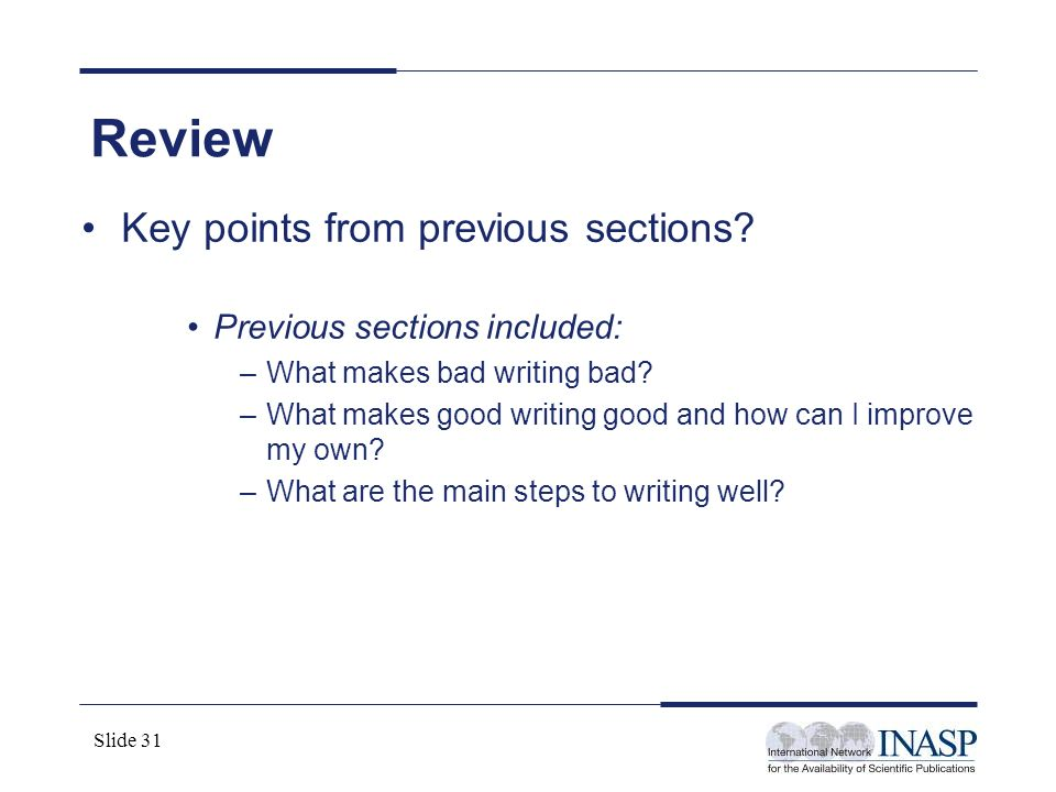 Review Key points from previous sections Previous sections included: