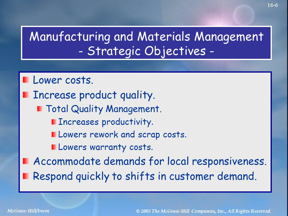 total quality management objectives Total quality management (tqm) in the department of defense is a strategy for   increasing user satisfaction is the overriding objective.