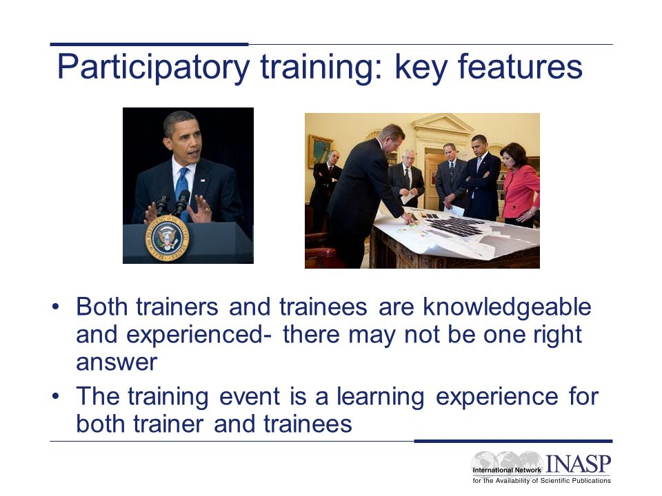 Participatory training: key features
