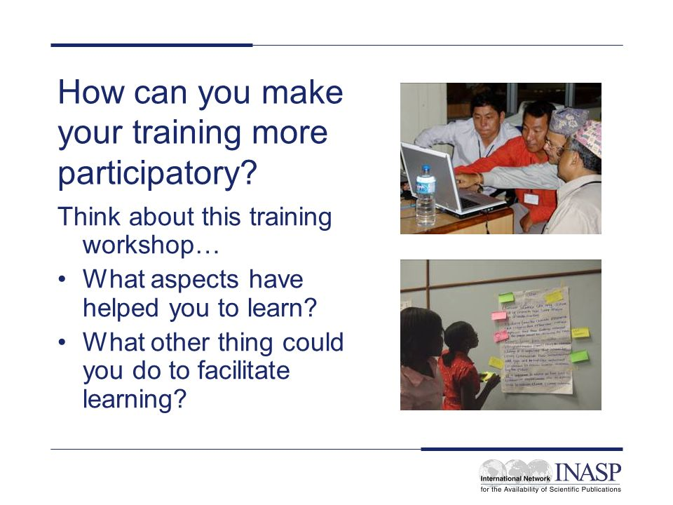 How can you make your training more participatory