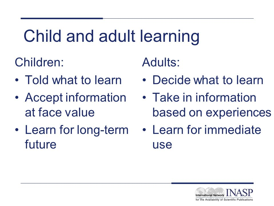 Child and adult learning