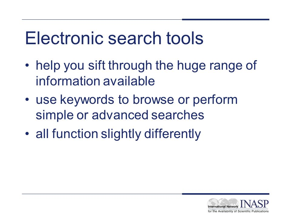 Electronic search tools