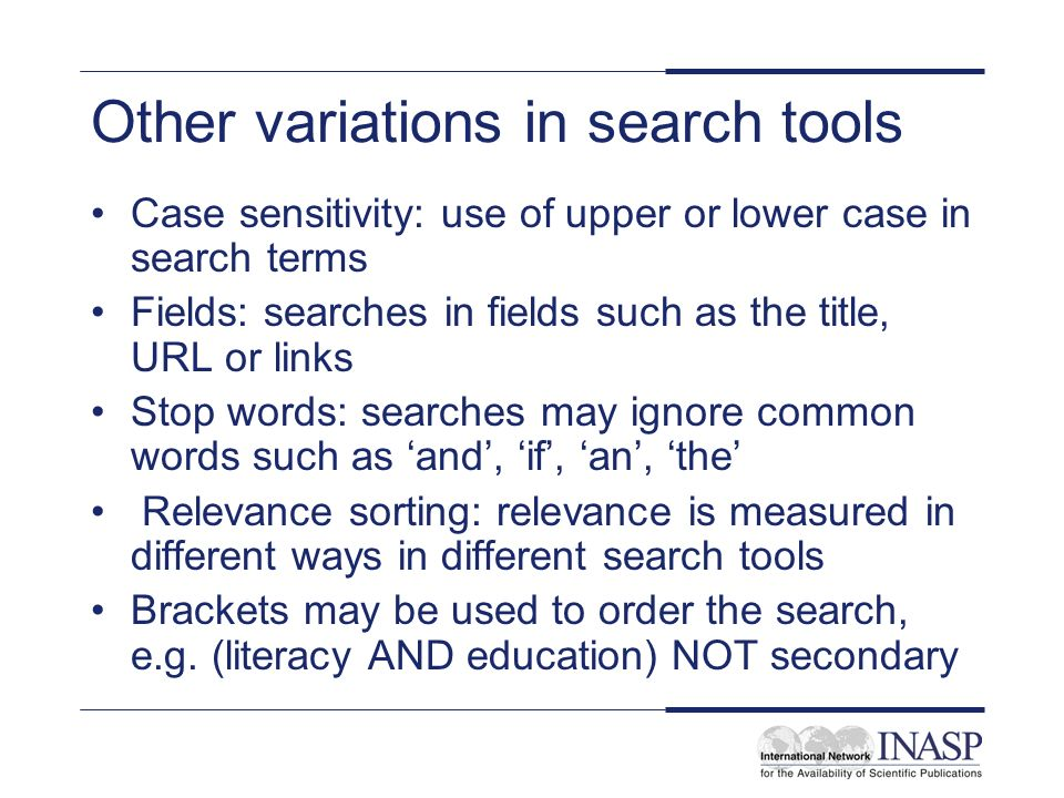 Other variations in search tools