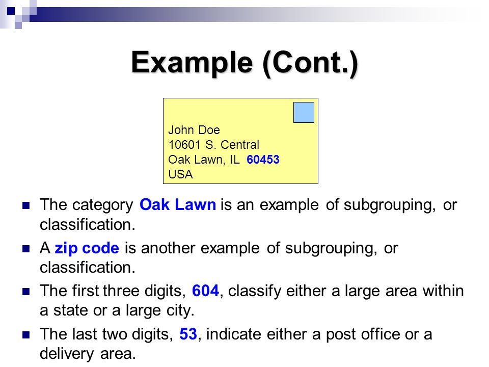 Example (Cont.) John Doe. 10601 S. Central. Oak Lawn, IL 60453. USA. The category Oak Lawn is an example of subgrouping, or classification.