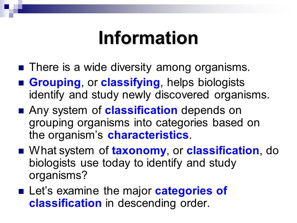 Information There is a wide diversity among organisms.
