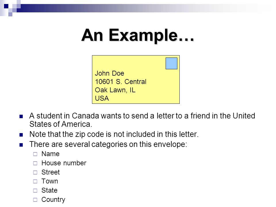 An Example… John Doe S. Central. Oak Lawn, IL. USA.