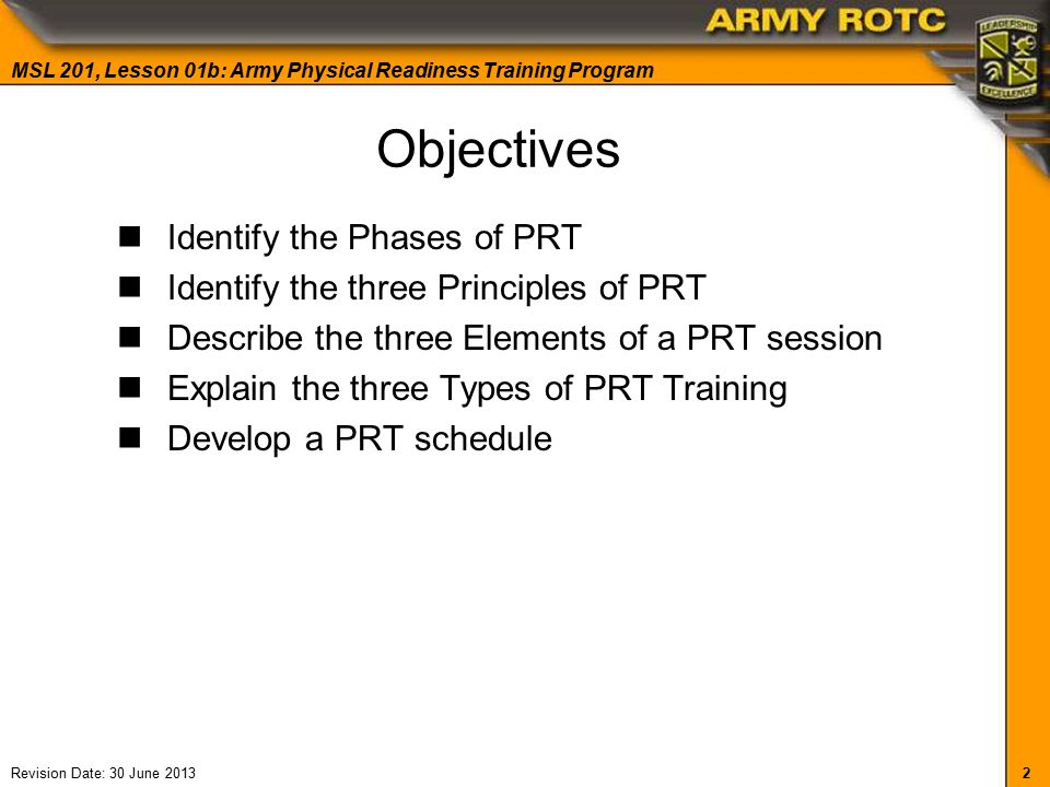 principles from exercising army