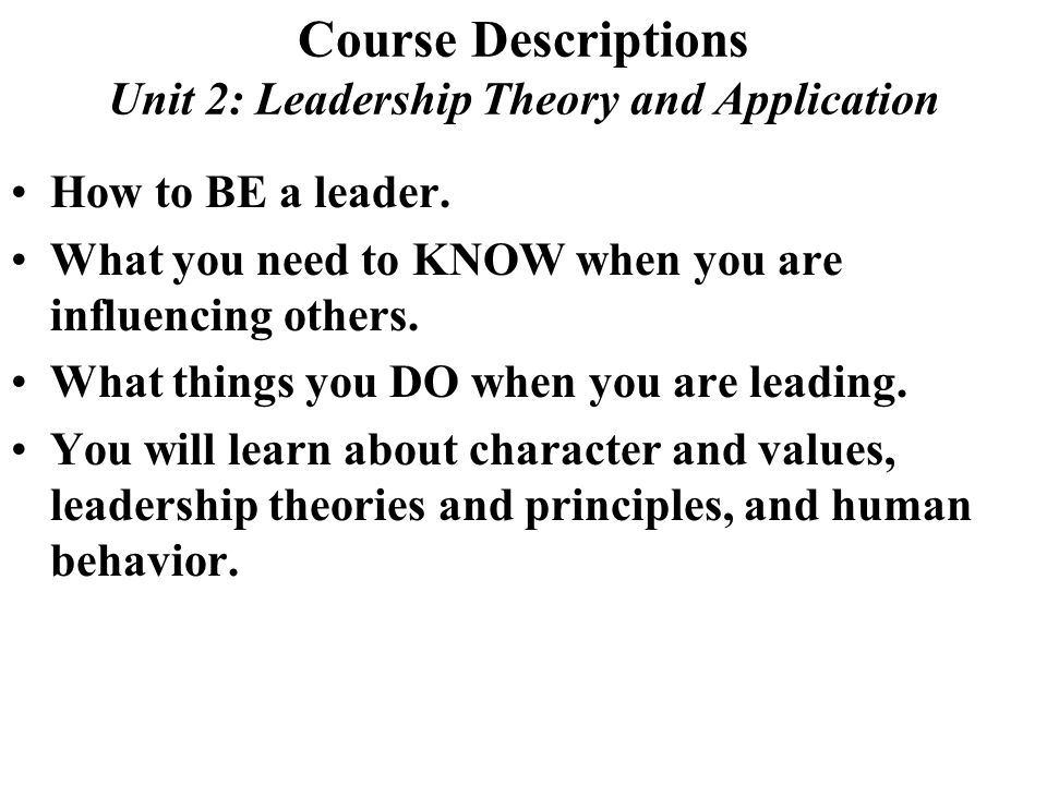 Theories and Principles Unit 4 Dtlls