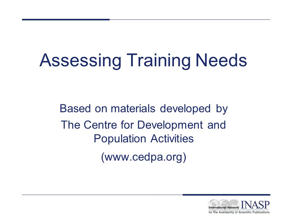 Assessing Training Needs