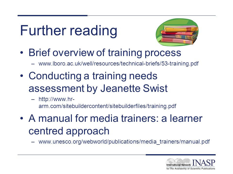 Further reading Brief overview of training process