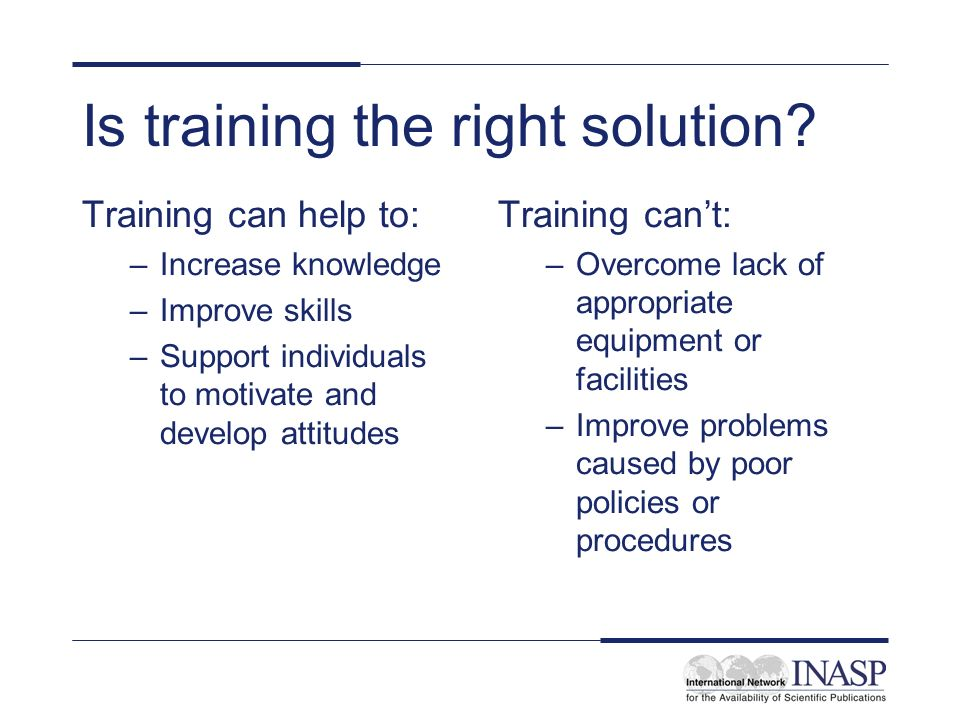 Is training the right solution