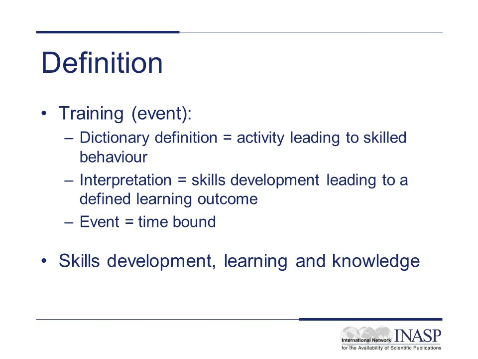Definition Training (event):