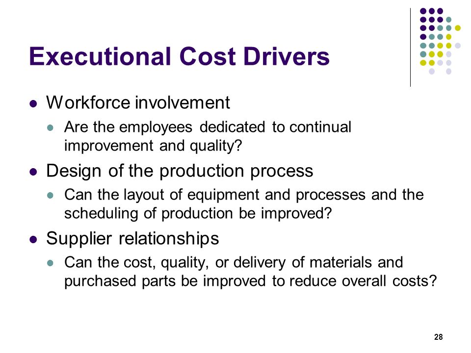 Executional Cost Drivers