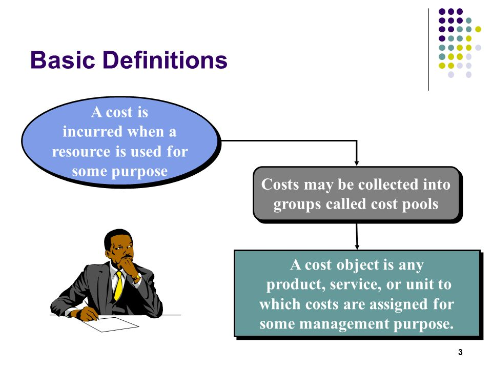 Basic Definitions A cost is incurred when a resource is used for some purpose. Costs may be collected into groups called cost pools.
