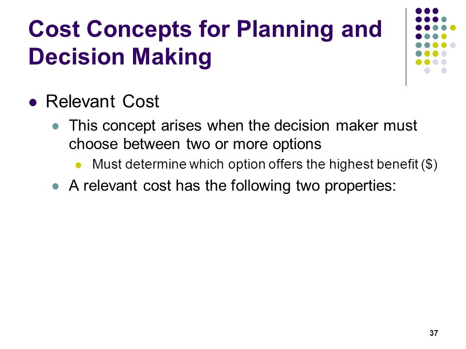 Cost Concepts for Planning and Decision Making