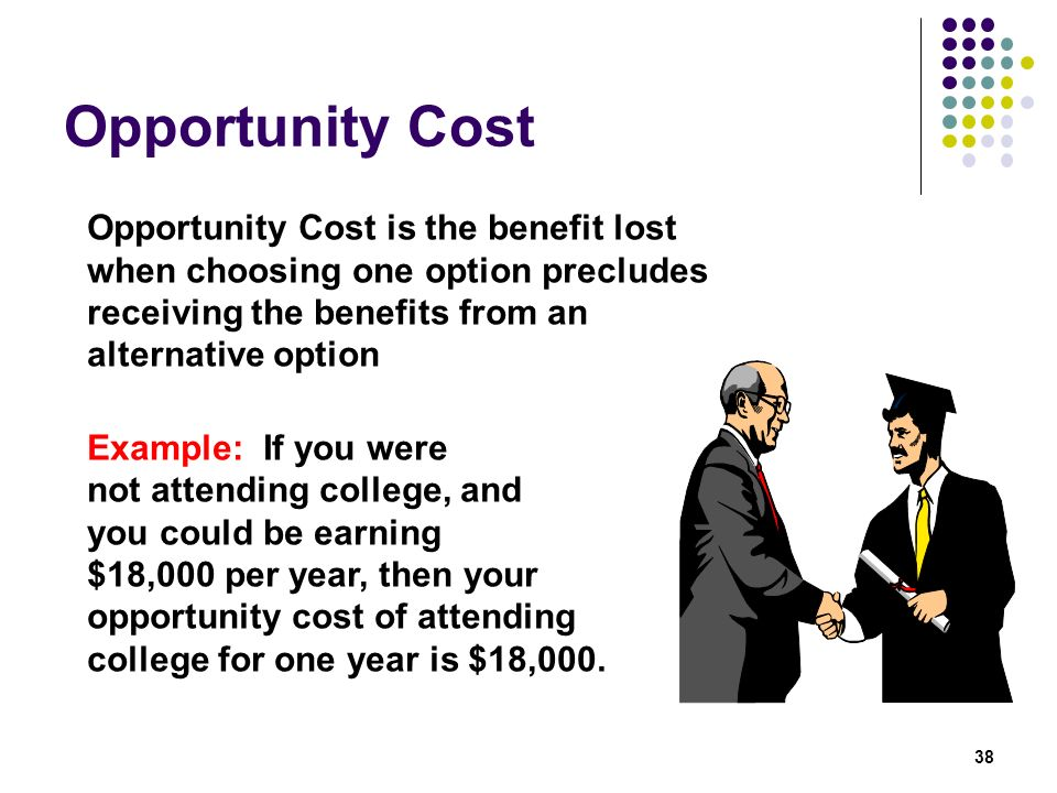 Opportunity Cost Opportunity Cost is the benefit lost when choosing one option precludes receiving the benefits from an alternative option.