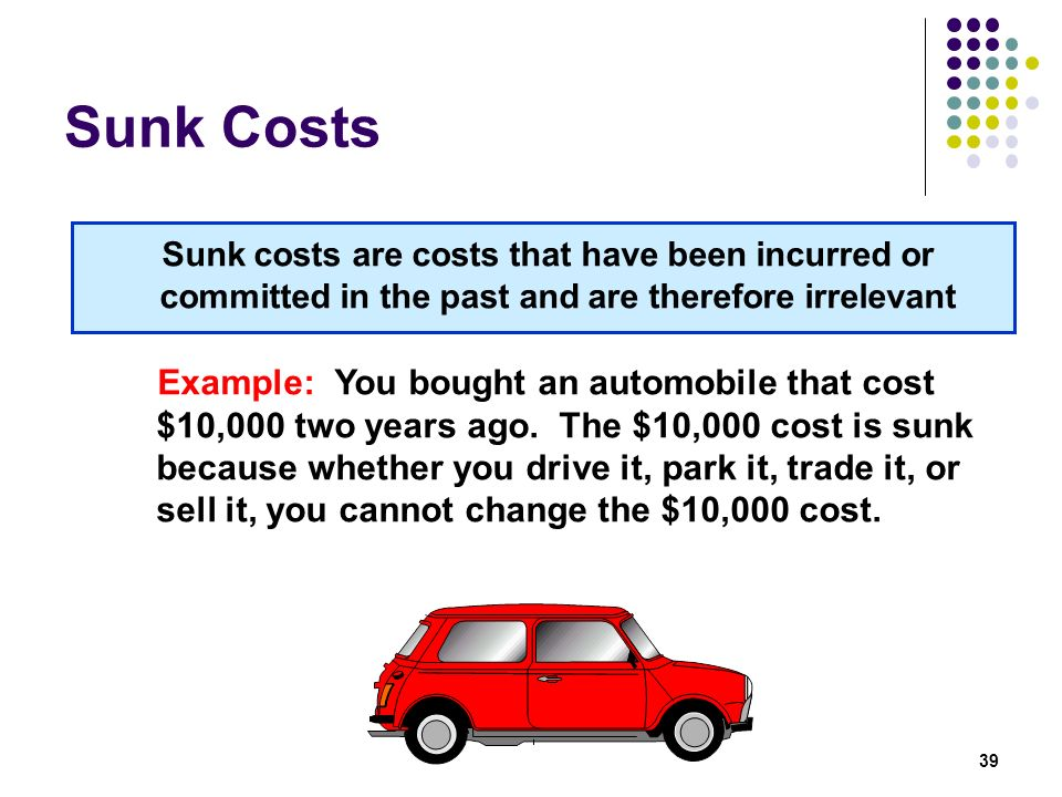 Sunk Costs Sunk costs are costs that have been incurred or committed in the past and are therefore irrelevant.