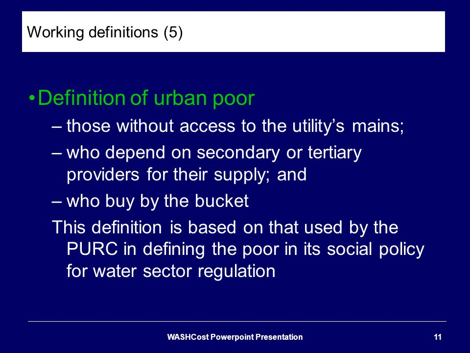 Working definitions (5)