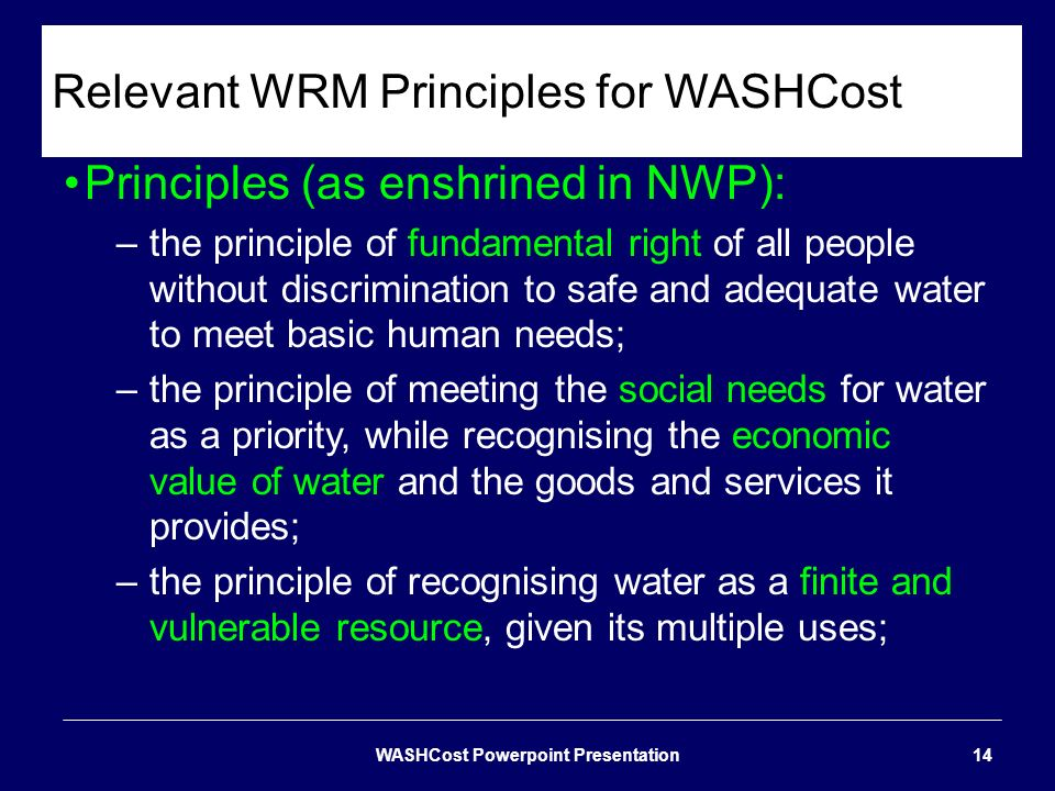 Relevant WRM Principles for WASHCost