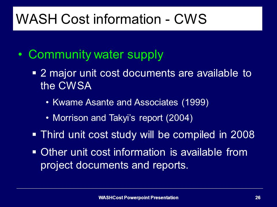 WASH Cost information - CWS