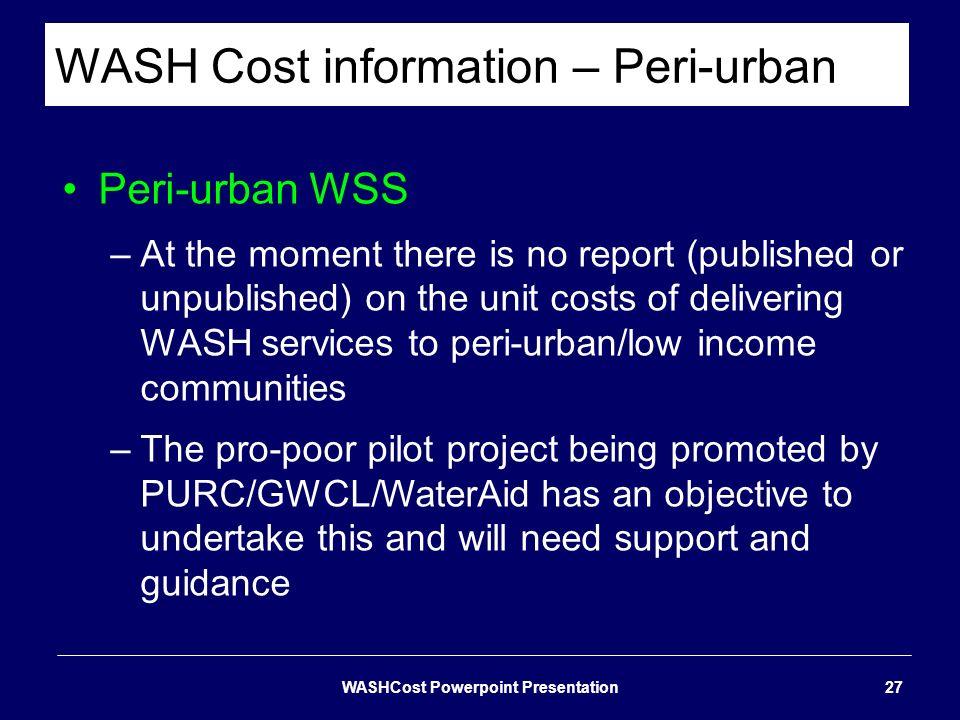 WASH Cost information – Peri-urban