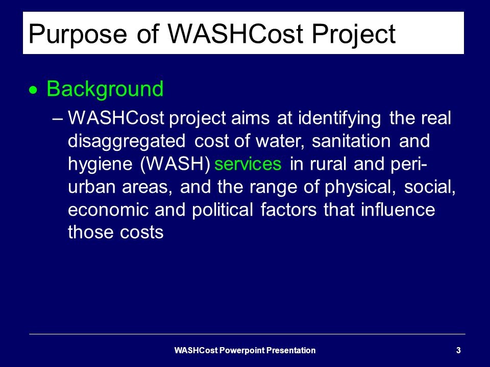 Purpose of WASHCost Project