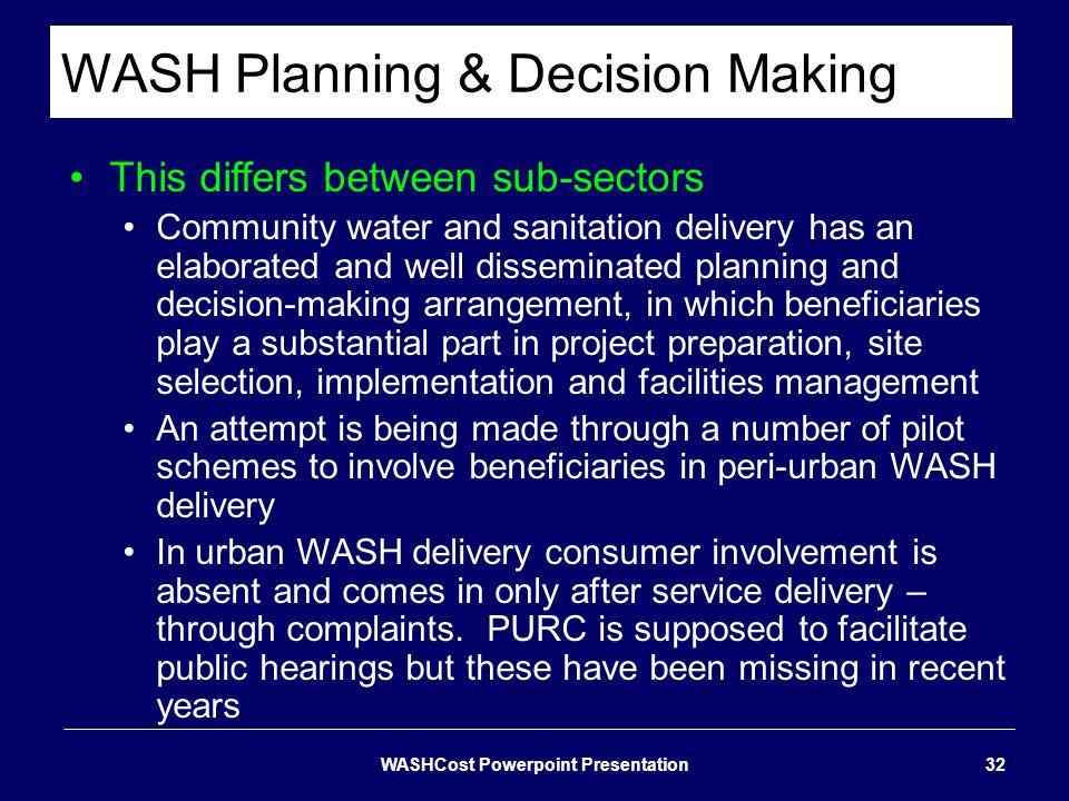WASH Planning & Decision Making